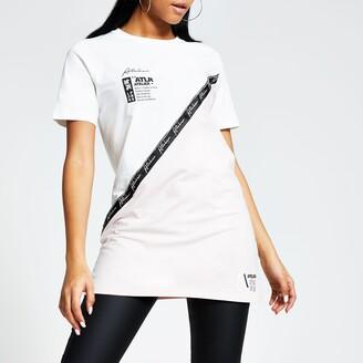 River Island Womens White 'ATLR' tape blocked boyfriend T-shirt