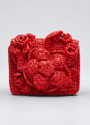 Oscar de la Renta Mini Tro Crocheted Raffia Tote Bag
