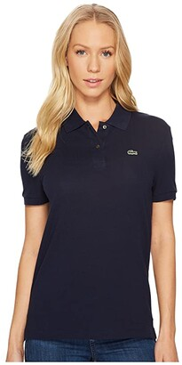 Lacoste Short Sleeve Two-Button Classic Fit Pique Polo (White) Women's Clothing