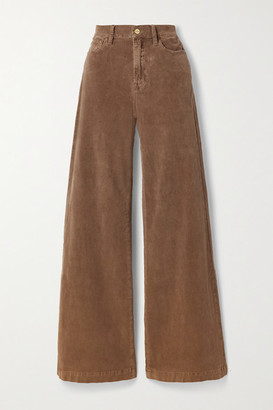 Frame Le Palazzo Wide-leg Cotton-blend Corduroy Pants - Light brown