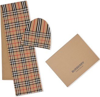 BURBERRY KIDS Vintage Check and Icon Stripe Wool Two-piece Gift Set