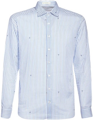 Etro Ostrich Striped Print Cotton Shirt