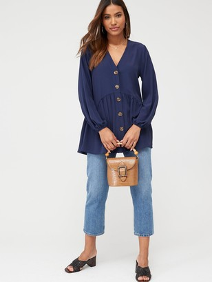 Very Longline Button Through Tunic Blouse - Navy