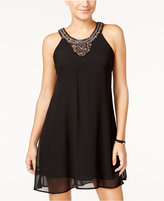 As U Wish Juniors' Embellished Halter Shift Dress