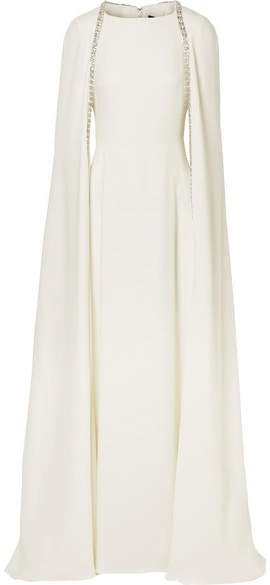 Reem Acra Crystal-embellished Cape-effect Silk-crepe Gown - Ivory