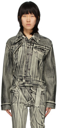 Ottolinger Off-White and Black Double Collar Painted Denim Jacket