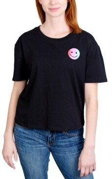 Rebellious One Juniors' Smiley Face Graphic T-Shirt