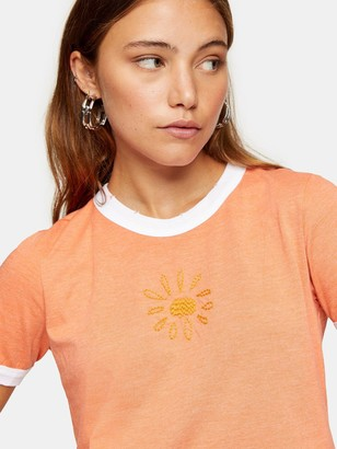Topshop Hand Stitch Ringer T-shirt - Orange