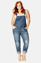 City Chic Plus Size Women's 'Over It All' Distressed Denim Overalls