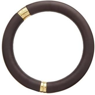Bottega Veneta Leather & 18kt Gold-plated Choker - Brown
