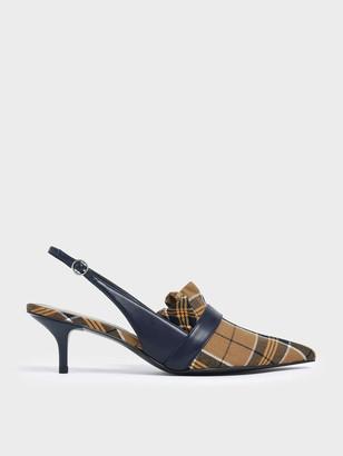 Charles & Keith Frill Trim Check Print Slingback Heels