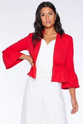 Quiz Red Frill Hem Crop Jacket
