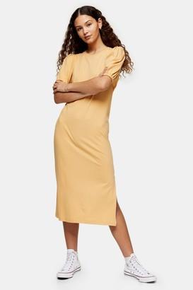 Topshop Yellow Open Back T-Shirt Midi Dress