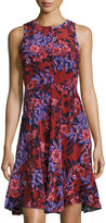 Rebecca Taylor Sleeveless Silk Floral-Print Dress, Burnt Red