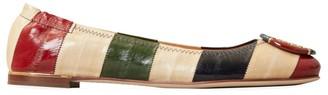 Tory Burch Minnie Colorblock Stripe Leather Ballet Flats