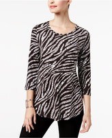 JM Collection Petite Zebra-Print Top, Created for Macy's