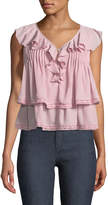 Rebecca Minkoff Everly Sleeveless Tiered Ruffled Top with Crochet Trim