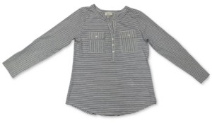 Style&Co. Style & Co Petite Cotton Striped Henley Top, Created for Macy's