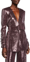 Badgley Mischka Sequin Crush-Sleeve Belted Jacket