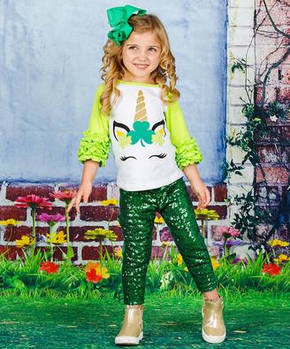 Mia Belle Girls Girls' Tee Shirts Green - Green & White Ruffle-Sleeve Clover Unicorn Raglan Tee - Toddler & Girls