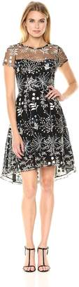 Adrianna Papell Women's Cap Sleeve Embroidery Dress