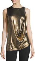 Halston Sleeveless Draped Metallic Jersey Top, Bronze