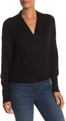 Max Studio Ribbed Knit Wrap Sweater