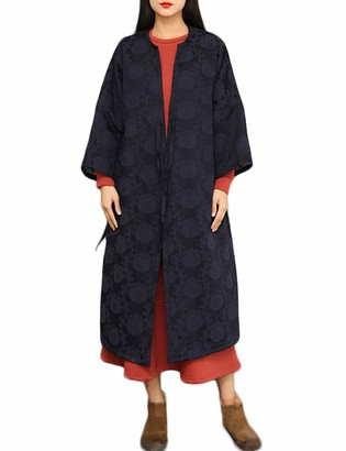 LZJN Women's Autumn Winter Coat Cotton Linen Jacquard Padded Jacket Quilted Bandage Long Parkas (Navy One Size)