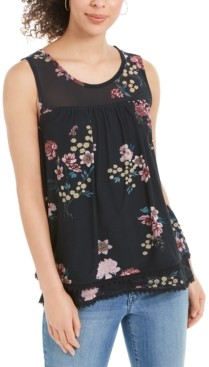 Style&Co. Style & Co Floral-Print Mesh Tank Top, Created for Macy's