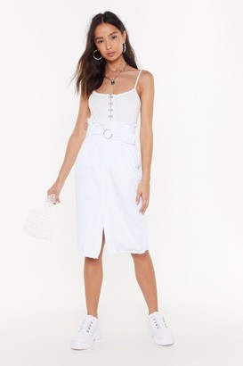 Nasty Gal Womens Give Me a Call Paperbag Denim Midi Skirt - White - 4