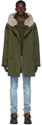 Yves Salomon Army Army Green Down and Fur Cotton Parka