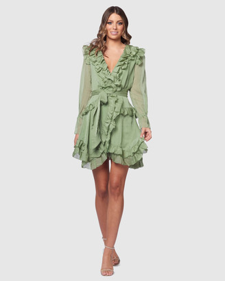 Pilgrim Women's Green Mini Dresses - Cora Wrap Dress - Size One Size, 6 at The Iconic