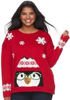 It's Our Time Its Our Time Junior's Plus Size Light-Up Penguin Holiday Sweater