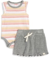 Infant Girl's Burt's Bees Baby Stripe Organic Cotton Bodysuit & Shorts Set