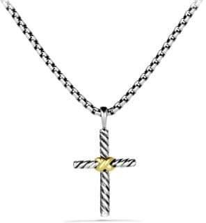 David Yurman Petite X Cross with Gold on Chain