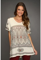 Free People Byzantine Mesh Printed Tunic (Antique Ivory) - Apparel