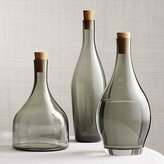 Crate & Barrel Arlo Smoke Glass Decanters, Set of 3