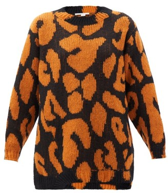 Stella McCartney Leopard-jacquard Asymmetric-hem Sweater - Orange Multi