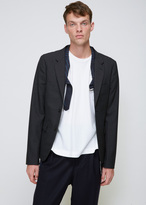 Comme des Garcons Charcoal Grey / Navy Wool Dobby Check & Lamé Stripe Combo Jacket