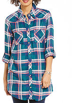 Tolani Tina Point Collar Roll-Tab Sleeve Button Front Plaid Tunic