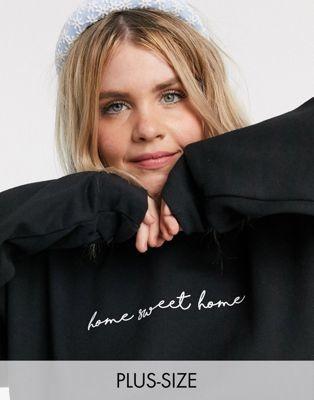 In The Style Plus x Billie Faiers loungewear motif slogan sweatshirt in black