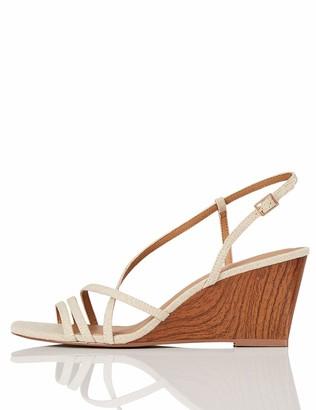 Find. Amazon Brand Wedge Strippy Sandal Ankle Strap Heels (Beige Linen) 3 UK