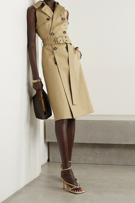 Michael Kors Collection - Belted Double-breasted Cotton-gabardine Midi Dress - Neutrals