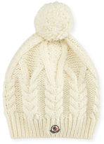 Moncler Cable-Knit Hat w/Pompom