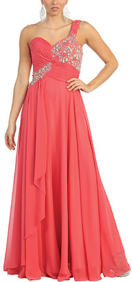 Mayqueen MayQueen Women's Special Occasion Dresses Coral - Coral Sequin Sweetheart Asymmetrical Gown - Women