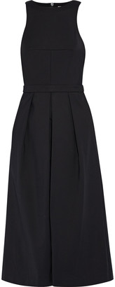 Tibi Agathe Cropped Pleated Stretch-cady Wide-leg Jumpsuit