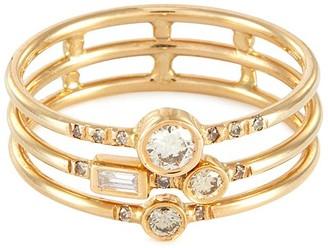 Xiao Wang Gravity' diamond 14K gold full stack ring