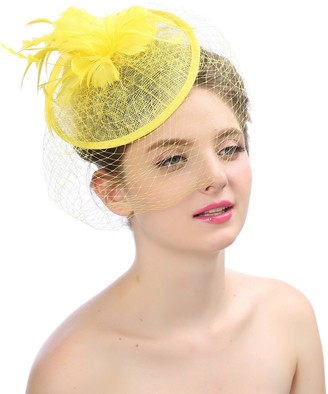 TEERFU Women Fascinator Hat Flower Feather Mesh Net Veil Headband Bridal Feather Hair Clip Pillbox Cocktail Tea Party Church Derby Hat Yellow