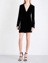 Thierry Mugler Deep V-neck velvet mini dress