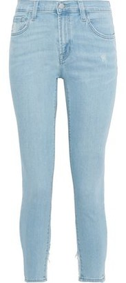 J Brand 835 Cropped Distressed Mid-rise Skinny Jeans